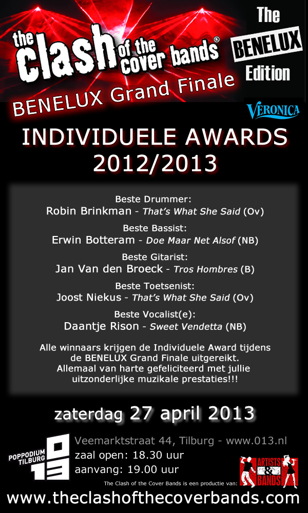 Winnaars Individuele Awards 2012/2013 bekend